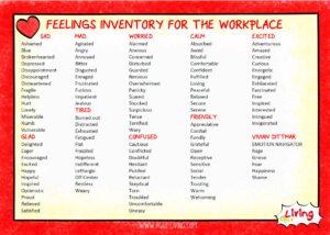 feelings list - workplace